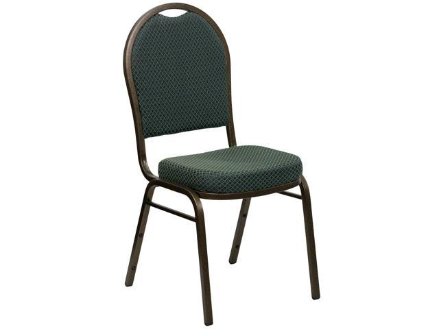 Flash Furniture HERCULES Series Dome Back Stacking Banquet Chair with Green Patterned Fabric and 2.5'' Thick Seat - Gold Vein Frame [FD-C03-GOLDVEIN-4003-GG]