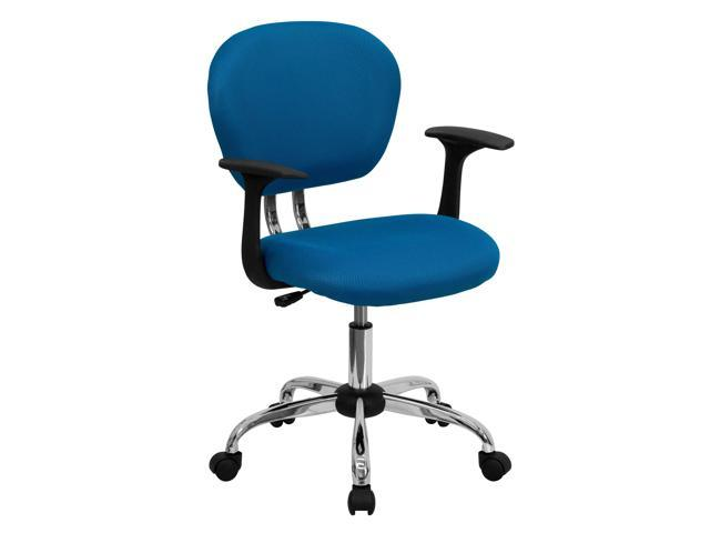 Flash Furniture Mid-Back Turquoise Mesh Task Chair with Arms and Chrome Base [H-2376-F-TUR-ARMS-GG]