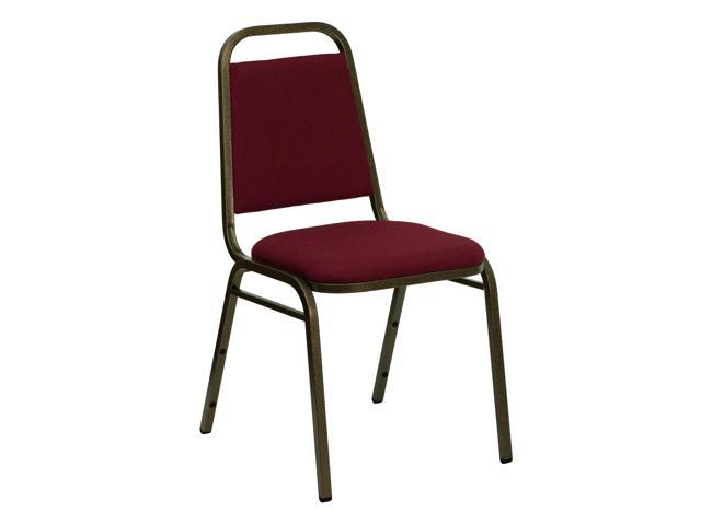 Flash Furniture HERCULES Series Trapezoidal Back Stacking Banquet Chair with Burgundy Fabric and 1.5'' Thick Seat - Gold Vein Frame [FD-BHF-2-BY-GG]