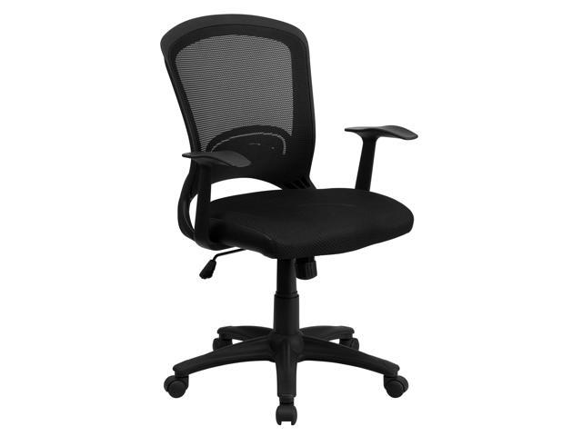 Flash Home Office Mid-Back Black Mesh Computer Chair With Padded Mesh Seat