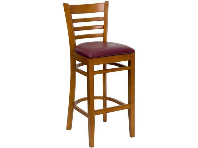 HERCULES Series Cherry Finished Ladder Back Wooden Restaurant Barstool - Burgundy Vinyl Seat