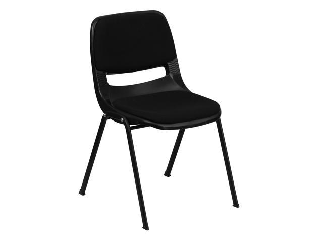Flash Furniture HERCULES Series 880 lb. Capacity Black Ergonomic Shell Stack Chair with Padded Seat and Back [RUT-EO1-01-PAD-GG]