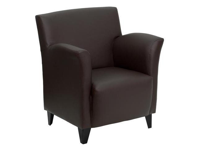 Flash Furniture HERCULES Roman Series Brown Leather Reception Chair [ZB-ROMAN-BROWN-GG]