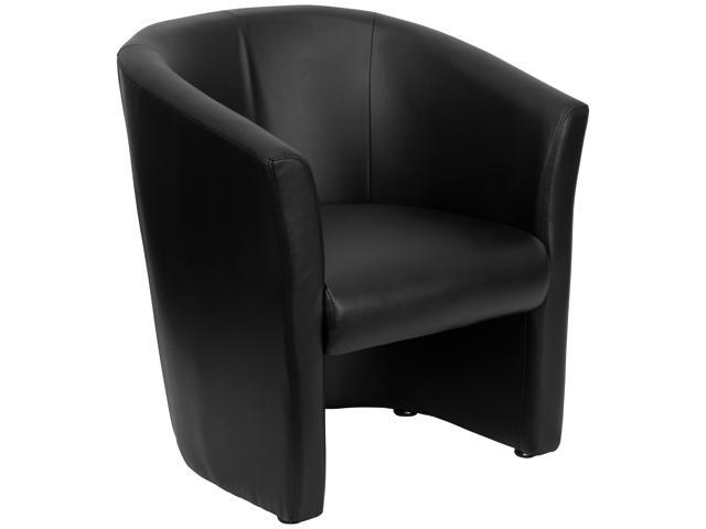 Flash Furniture Black Leather Barrel-Shaped Guest Chair [GO-S-01-BK-QTR-GG]