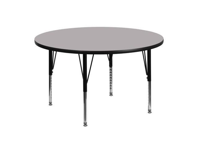 Flash Furniture XU-A48-RND-GY-T-P-GG 48 in. Round Activity Table with Grey Thermal Fused Laminate Top and Height Adjustable Pre-School Legs