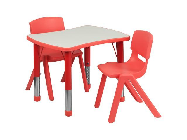Flash Furniture 21.875''W x 26.625''L Adjustable Rectangular Red Plastic Activity Table Set with 2 School Stack Chairs [YU-YCY-098-0032-RECT-TBL-RED-GG]