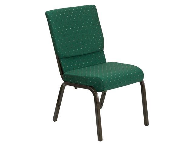 Flash Furniture HERCULES Series 18.5'' Wide Green Patterned Stacking Church Chair with 4.25'' Thick Seat - Gold Vein Frame [XU-CH-60096-GN-GG]