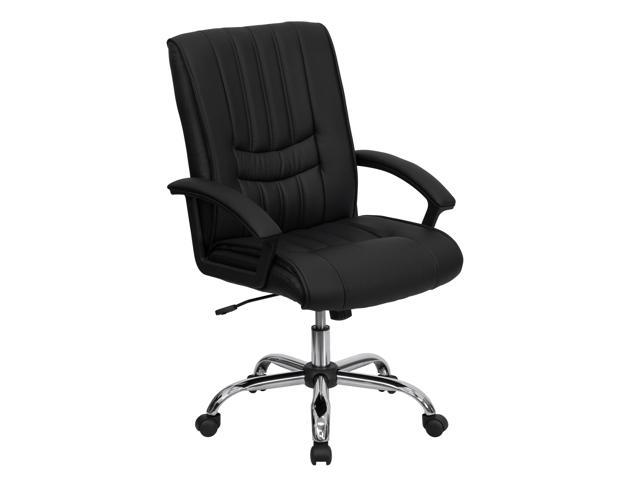 Flash Furniture Mid-Back Black Leather Manager's Chair [BT-9076-BK-GG]
