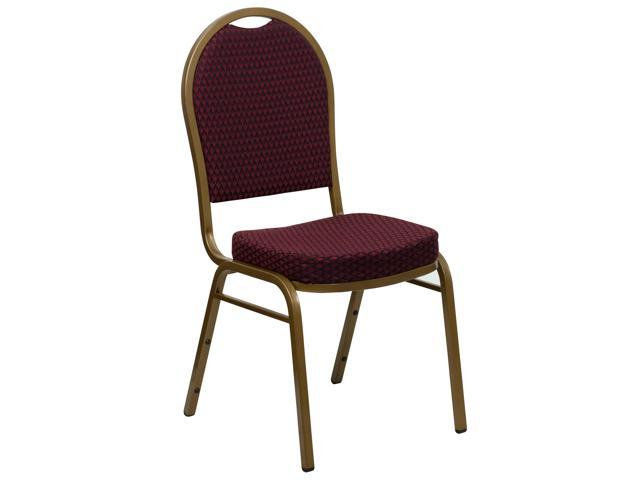 Flash Furniture HERCULES Series Dome Back Stacking Banquet Chair with Burgundy Patterned Fabric and 2.5'' Thick Seat - Gold Frame [FD-C03-ALLGOLD-EFE1679-GG]