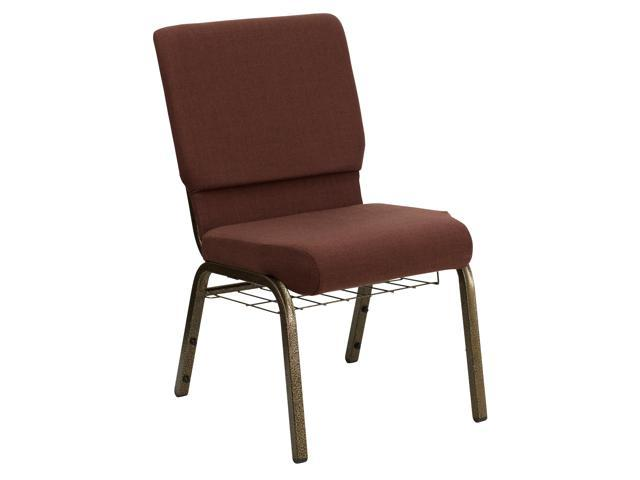 Flash Furniture HERCULES Series 18.5'' Wide Brown Church Chair with 4.25'' Thick Seat, Communion Cup Book Rack - Gold Vein Frame [FD-CH02185-GV-10355-BAS-GG]
