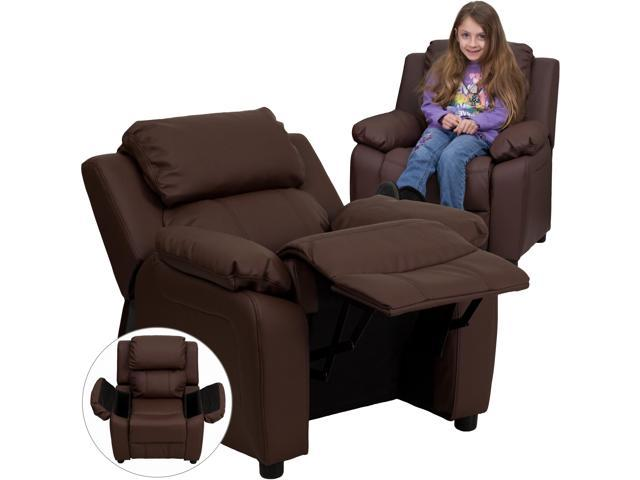 Deluxe Heavily Padded Contemporary Brown Leather Kids Recliner with Storage Arms [BT-7985-KID-BRN-LEA-GG]