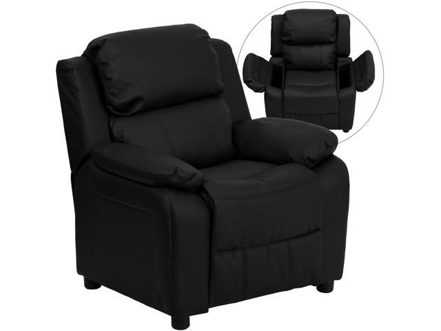 Deluxe Heavily Padded Contemporary Black Leather Kids Recliner with Storage Arms [BT-7985-KID-BK-LEA-GG]
