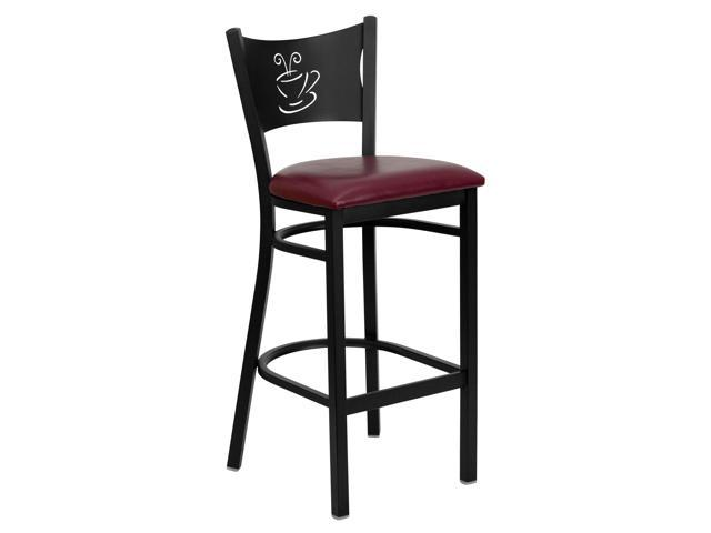Flash Furniture HERCULES Series Black Coffee Back Metal Restaurant Bar Stool with Burgundy Vinyl Seat [XU-DG-60114-COF-BAR-BURV-GG]