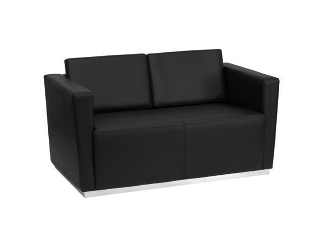 Trinity Series Black Leather Love Seat with Stainless Steel Base by Flash Furniture