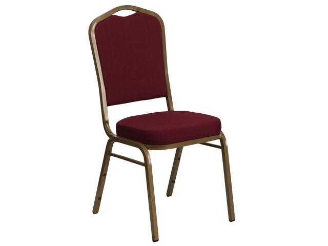 Flash Furniture HERCULES Series Crown Back Stacking Banquet Chair with Burgundy Fabric and 2.5'' Thick Seat - Gold Frame [FD-C01-ALLGOLD-3169-GG]