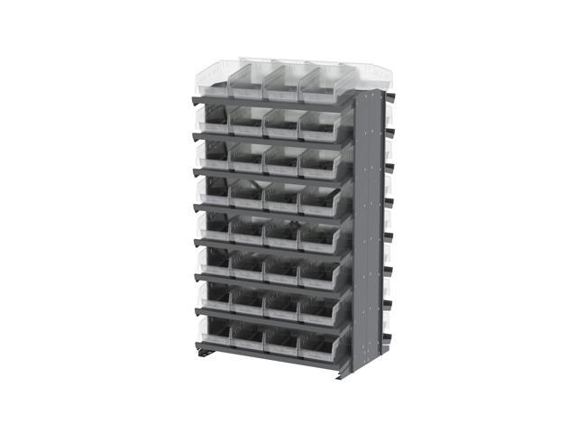16 Shelves Double Sided Pick Rack With Clear Shelf Storage 30080SCLAR Bins