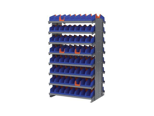 Akromils Double Sided Pick Rack 16 Shelves with 36442 Blue Storage Bin