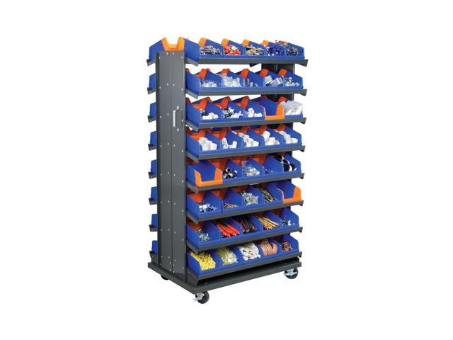 Akromils Double Sided Pick Rack 16 Shelves with 36462 Blue Storage Bin