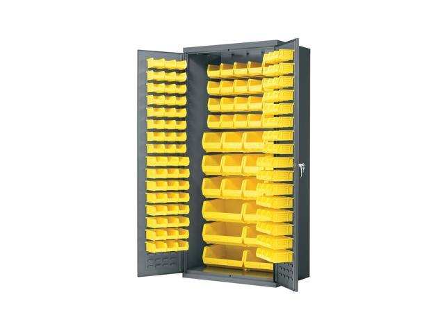 Home Plastic Storage AkroBin Cabinet with yellow Bins -36