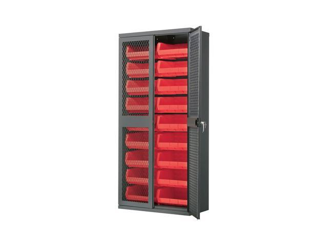 Akromils Secure-View Security Cabinet with yellow AkroBins Red