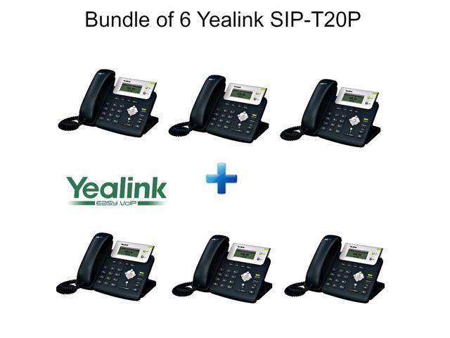 Yealink SIP-T20P, Bundle of 6 Enterprise IP Phone with 2 Lines 2xLAN PoE LCD