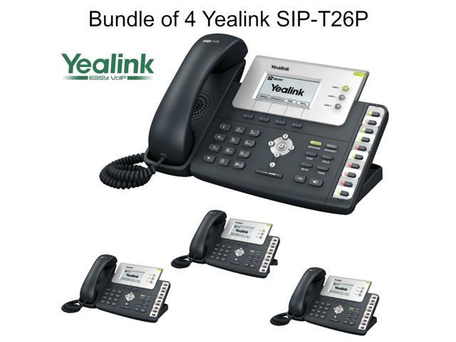 Yealink SIP-T26P Bundle of 4 Enterprise IP Phone with 3 lines HD voice PoE LCD