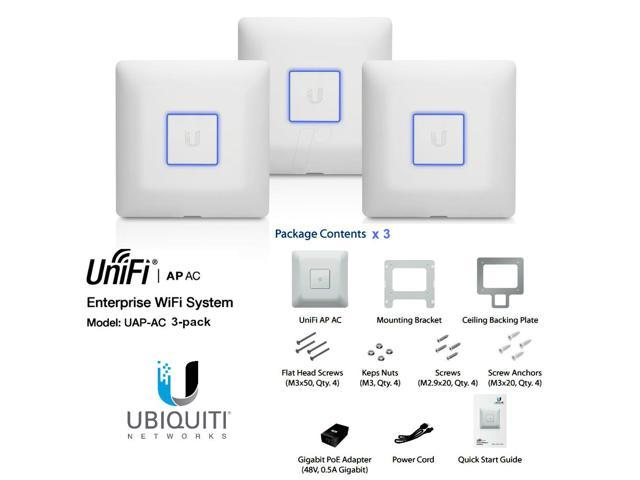 Ubiquiti UniFi AP-AC 3-pack, UAP-AC 3 pack Dual Band Access Point AC 3x3 PoE+