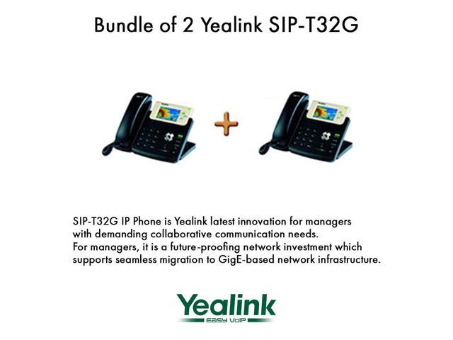 Yealink SIP-T32G Bundle of 2 Gigabit Color LCD IP Phone 3 lines PoE XML Browser
