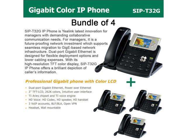 Yealink SIP-T32G Bundle of 4 Gigabit Color LCD IP Phone 3 lines PoE XML Browser