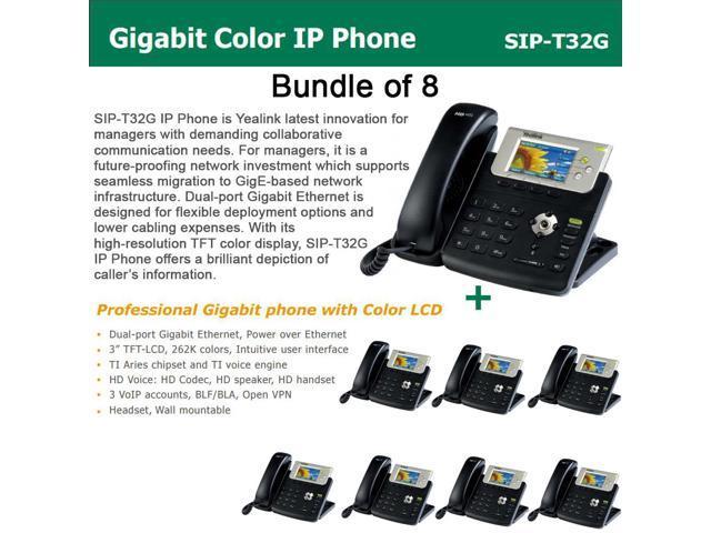 Yealink SIP-T32G Bundle of 8 Gigabit Color LCD IP Phone 3 lines PoE XML Browser