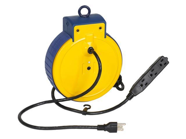 Retractable Extension Cord Work Reel W 3 Grounded Outlets