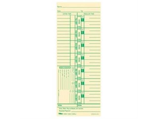 "TOPS 12523 Weekly Time Card 9"" x 3.50"" Sheet Size - Manila - 100 / Pack"