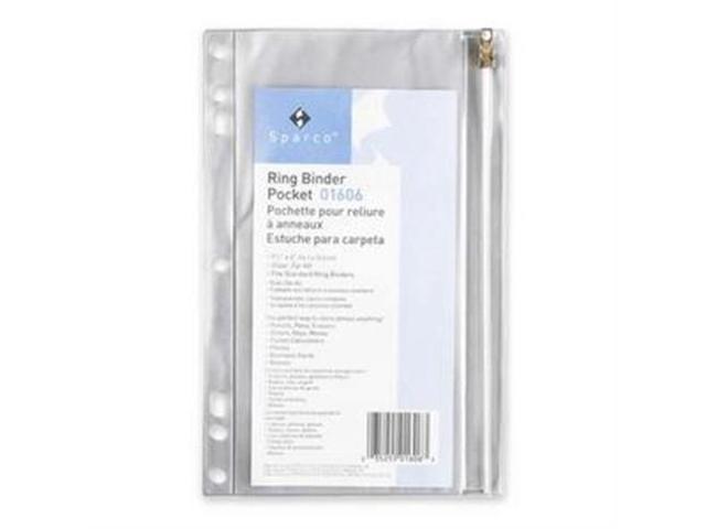 Ring Binder Pocket w/ Zipper Vinyl Hole Punched 9-1/2