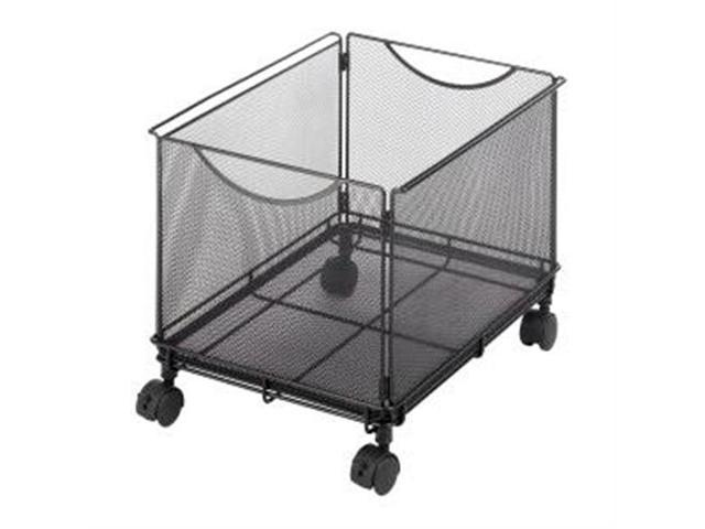 """Safco Onyx 5211BL Mesh Rolling File Cube 4 x 1.50"""" Caster - Steel - 13.5"""" x 16.8"""" x 13"""" - Black"""