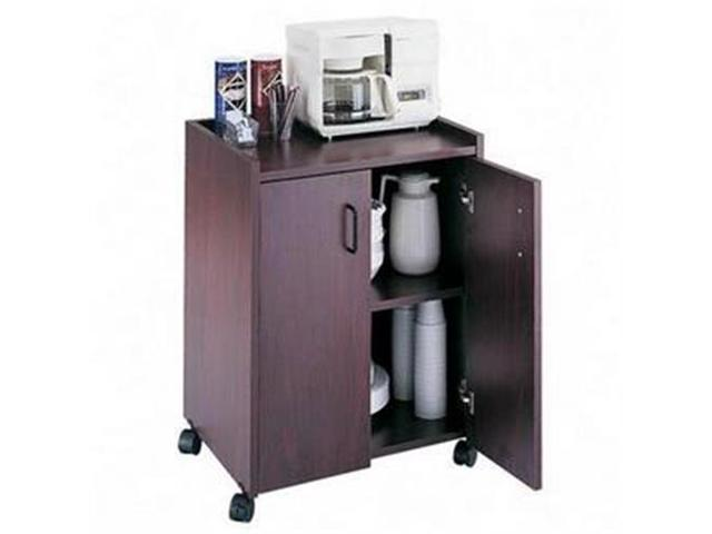 Safco Mobile Compact Dbl Door Refreshment Center, Mahogany - SAF8953MH