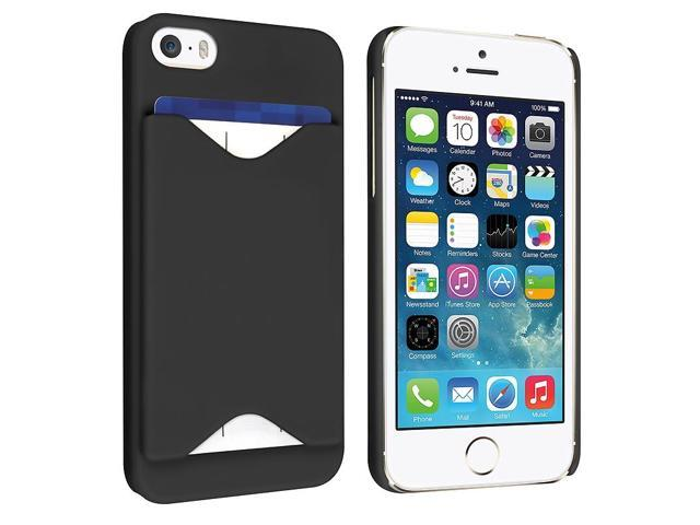 Apple iPhone 5/5S Case, eForCity Rubberized Hard Snap-in ID/Credit Card Slot Case Cover for Apple iPhone 5/5S, Black