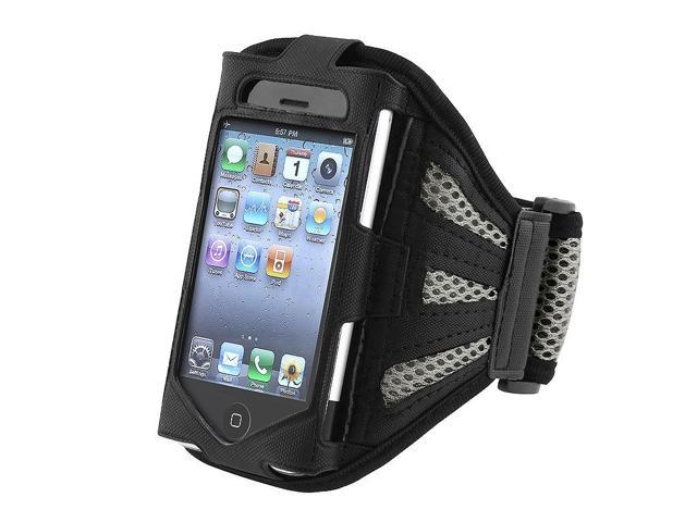eForCity Sport Running Armband Case Pouch for iPhone 4 4S IOS 4 OS4, Black / Silver