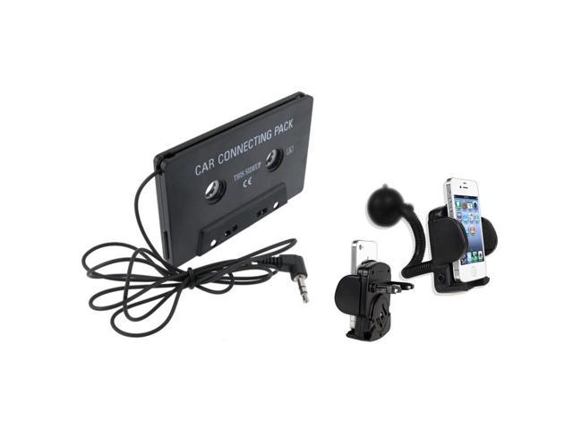 eForCity In Car Music Cassette + Holder Compatible with Samsung Galaxy S4 S IV S3 III i9300 i9500 N7100