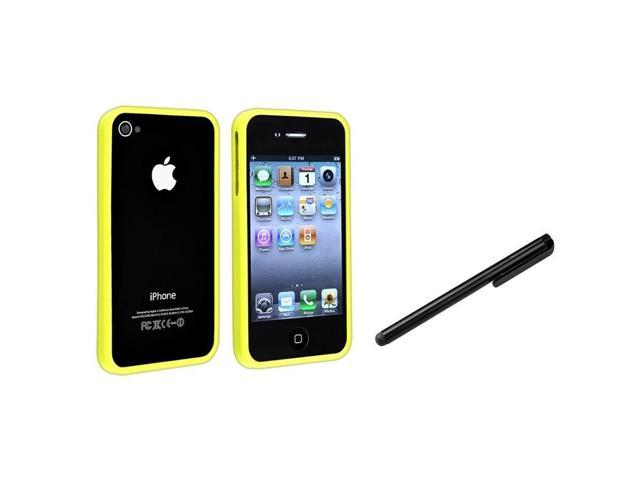 Bumper TPU Rubber Skin Case with Black Touch Screen Stylus compatible with Apple iPhone 4 4S, Yellow