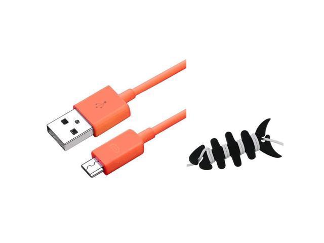 eForCity 3FT Orange Data Charger + Fishbone Wrap For Motorola Triumph Photon 4G Atrix 2