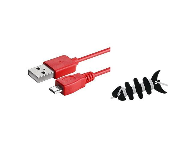 eForCity 3FT Red Charger + Fishbone Wrap For HTC One M7 Inspire 4G Amaze 4G Thunderbolt