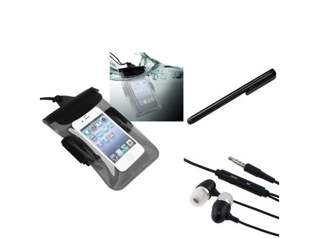 eForCity Clear Black Waterproof Bag + Black 3.5mm In-Ear Stereo Headset w/On-off & Mic + Black Touch Screen Stylus for iPod ...