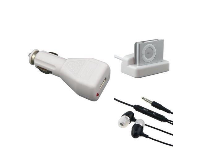 eForCity Black 3.5mm In-Ear Stereo Headset w/On-off & Mic + USB Car Charger Adapter + White Multi Function Cradle Compatible With Apple iPod Shuffle 2nd Gen