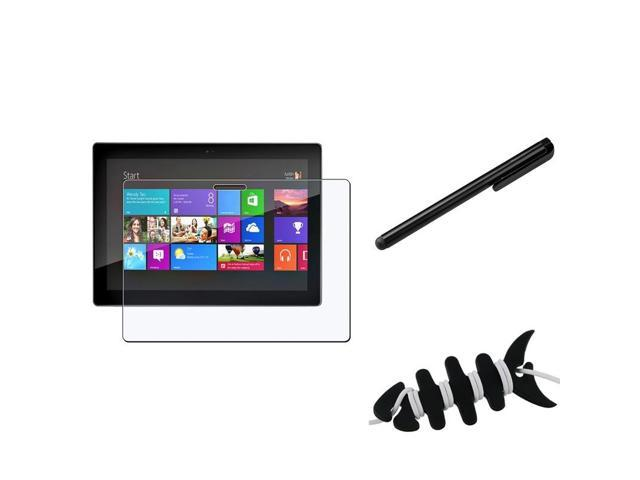 eForCity Black Headset Smart Wrap, Black Fishbone + Black Touch Screen Stylus + Anti-Glare Screen Protector Compatible With ...