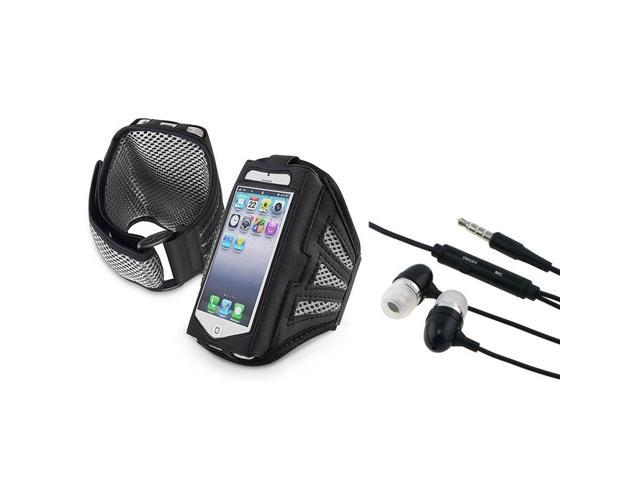 eForCity Black/ Silver Deluxe Sports ArmBand Case with FREE Black 3.5mm In-Ear Stereo Headset w/ On-off & Mic Compatible ...