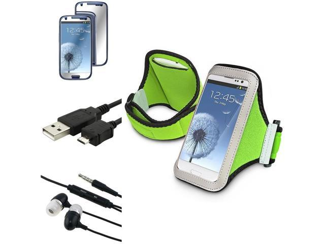 eForCity Black USB Data/Charging Cable (Micro USB) + Black Universal 3.5mm In-Ear Stereo Headset w/On-off & Mic + Light Green Armband Bundle Compatible With Samsung© Galaxy SIII/S3