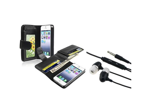 eForCity Black Leather Case with Wallet with FREE Black In-ear (w/ on-off) Stereo Headsets for Apple iPhone 5 / 5S