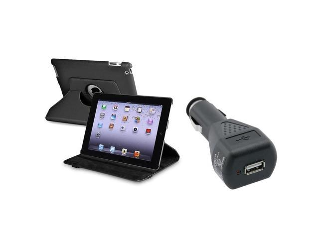 Black 360-degree Swivel Leather Case with 1 Car Charger compatible with Apple® iPad 2 / iPad 3rd Gen / The new iPad /ipad 4 / iPad with Retina display