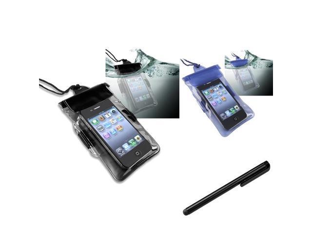 eForCity 2x Black + Blue Case + Black Stylus Compatible with Motorola Photon 4G Atrix 2 Droid 4 Triumph