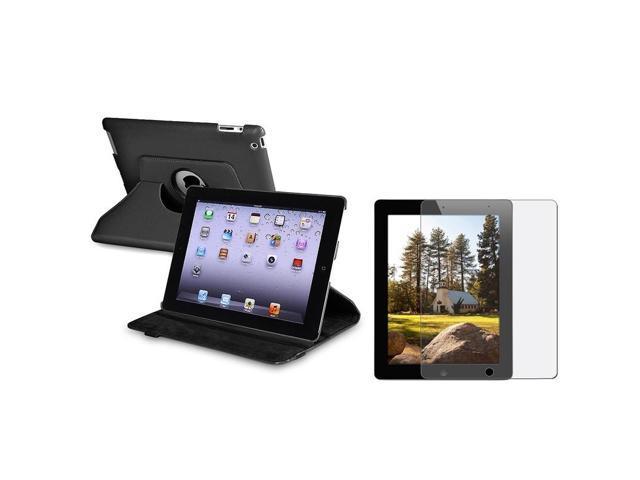 Black 360-degree Swivel Leather Case with Anti-Glare LCD Cover compatible with Apple® ipad 2 / ipad 3rd Gen / The new ipad /ipad 4 / ipad with Retina display